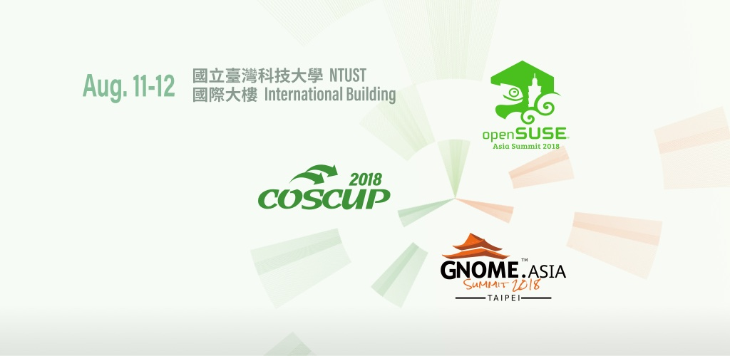 Event cover image for COSCUP 2018 X openSUSE.Asia X GNOME.Asia